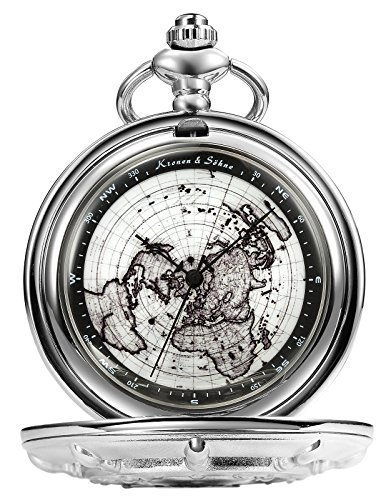 KS Half Hunter Series Map Dial Roman Numerials Skeleton Quartz Pocket Watch KSP108