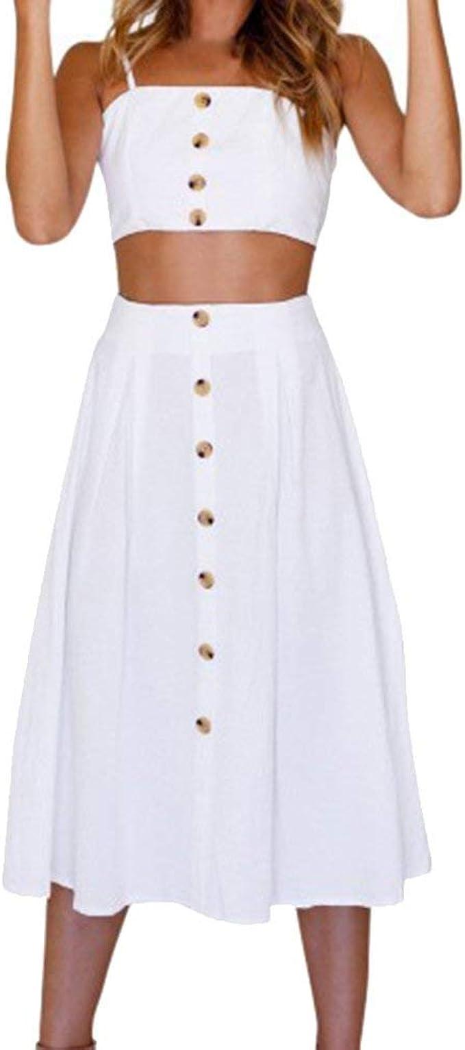 Damen 17 Teiler Röcke Top Sets Ärmellos Und Sommer Bowknot