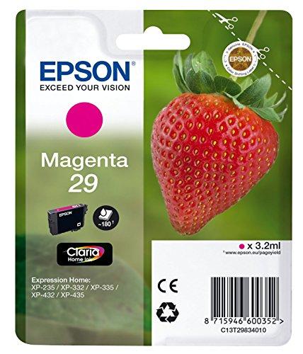 Epson 29 M - Cartucho de tinta para impresoras (Magenta, Estándar, Epson Expression Home XP-235/332/335/432/435, Inyección...