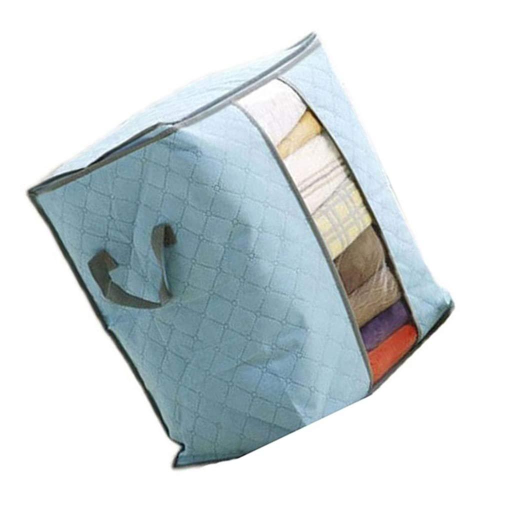 Carb/ón de bamb/ú Grande Bolsa de Almacenamiento de Ropa de Cama determinada Almohadas Organizador Caja Tejida Plegable para no fgyhty