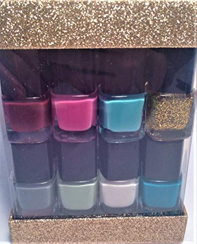 (Simple Pleasures 14-COLOR NAIL POLISH COLLECTION in Glittery Gold Cube.25 fl. oz.)