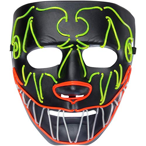 U LOOK UGLY TODAY Mens LED Light Up Mask Full Face for Halloween Party Minotaur ()