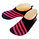 Cevinee™ (Update Version) Slip-on Water Shoes, Anti-slip Aqua Socks, Breathable Beach Swim Surf Yoga Outdoor Soft Shoes - Pink Stripe M
