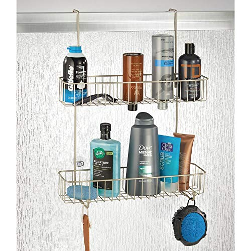 mDesign Extra Wide Wire Over Shower Door Hanging Storage Built-in Hooks and Baskets on Levels Shampoo, Body Wash, - Satin