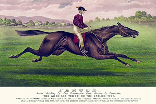 ArtParisienne Parole The American Victor on The English Turf Currier and Ives 12x18-inch Paper Giclée Print