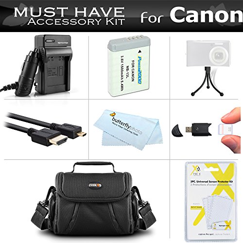 Must Have Accessory Kit for Canon PowerShot SX720 HS, Canon G7 X Mark II, G7 X, G9 X, G5 X Digital Camera Includes Extended Replacement NB-13L Battery + Ac/Dc Charger + Micro HDMI Cable + Case + More -  ButterflyPhoto, AMAZ24201