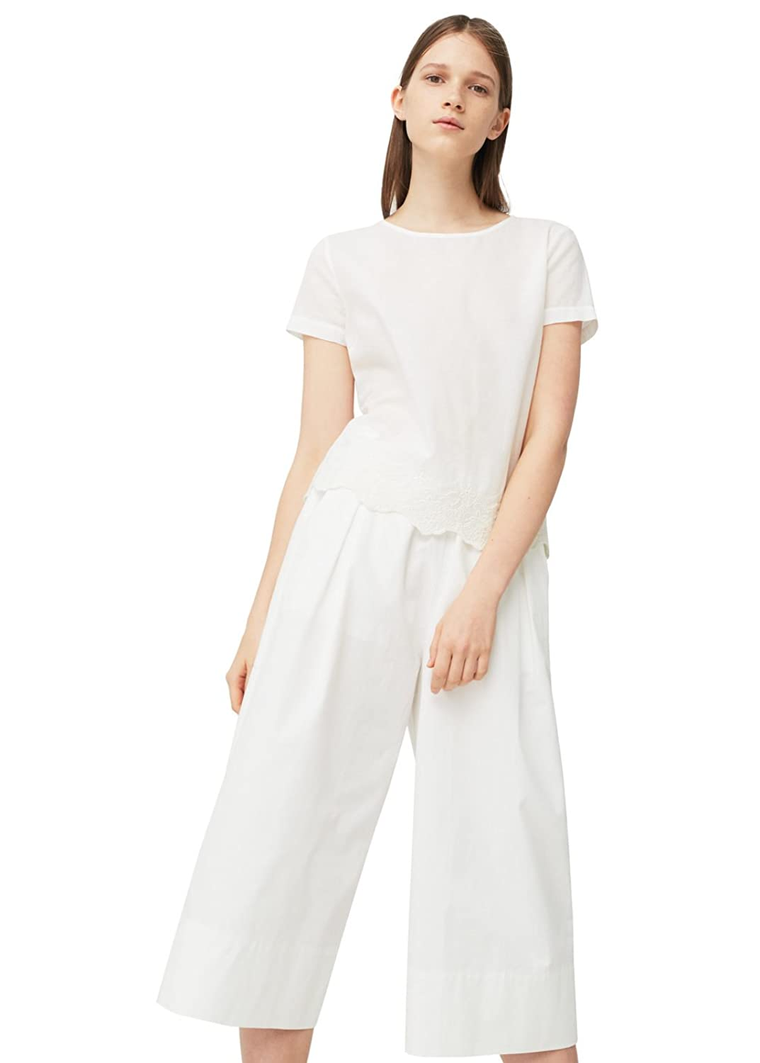 MANGO - Embroidered cotton Shirts Short sleeve blouse - Size:12 - Color:Off White