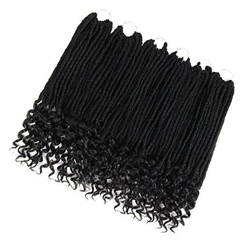 SLEEK 6 Bundles Faux Locs Crochet Hair with Curly Ends (Natural Black, 20