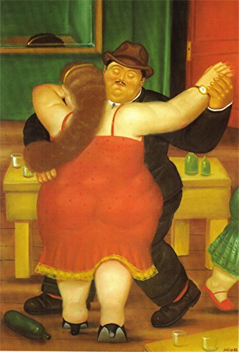 Fernando Botero – Couple Dancing, Size 18×24 inch, Gallery Wrapped Canvas Art Print Wall d cor