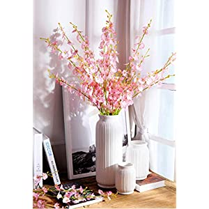 ULUK Artificial Orchids Flowers,12 Pcs Silk Fake Orchid Flowers in Bulk Flowers Artificial Real Touch Vase Arrangements for Indoor Outdoor Wedding Home Office Decoration (Pink) 2
