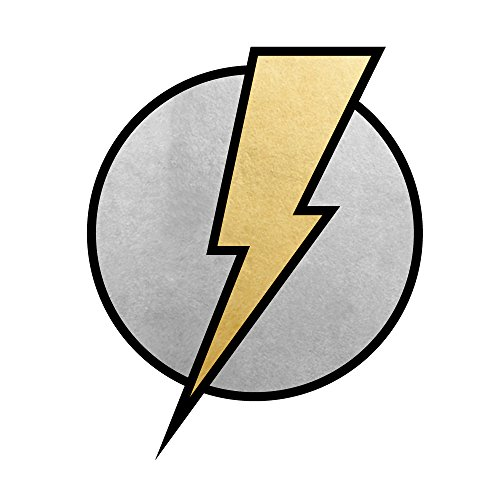 LIGHTNING BOLT set of 25 premium Fun Tats kids waterproof temporary black, metallic silver and metallic gold superhero inspired Flash Tattoos–party favors, party -