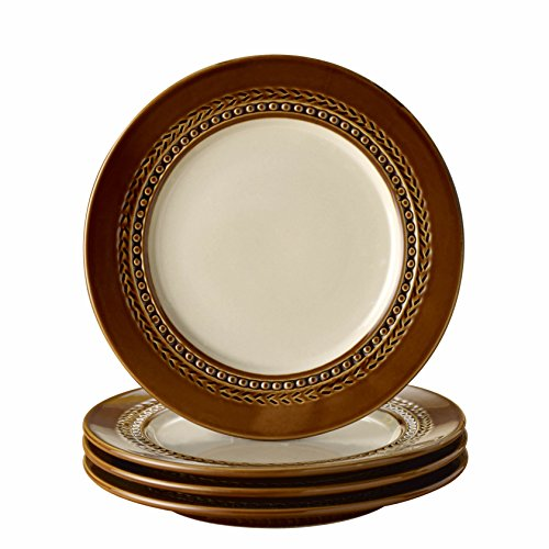 Paula Deen Dinnerware Southern Gathering 4-Piece Stoneware Salad Plate Set, Chestnut