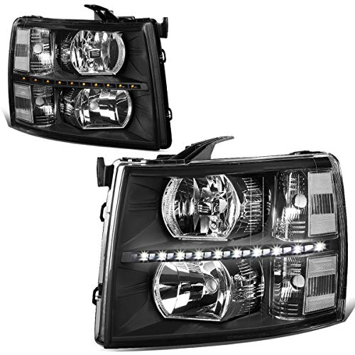 For 07-14 Chevy Silverado Pair Black Housing Clear Corner LED DRL Strip Headlight/Lamps