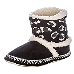 Noble Mount Womens Wildside Leopard Print Indoor Short Boot Slippers Black White Xl