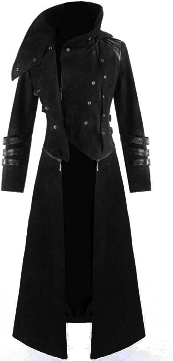 Darkrock Scorpion Mens Hooded Trench Coat Long Jacket Red /& Black Gothic Steampunk
