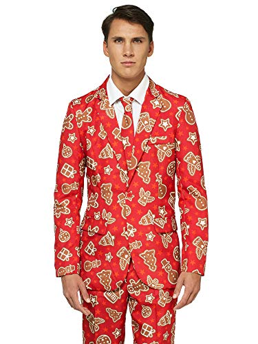 OFFSTREAM Ugly Christmas Suits for Men in Different Prints - Xmas Sweater Costumes Include Jacket Pants & Tie,Red ()