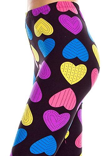 Expert Design Women's Regular Colorful Big Hearts Print Leggings - Pink Yellow (Pink Heart Leggings)