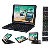 iPad Pro 10.5 case with Keyboard backlit, Lenrich 7 colors backlight 360 rotatable Wireless Keyboard folio swivel cover stand for Apple iPad Pro 10.5 inch 2017 Auto Sleep/Wake up (Black)