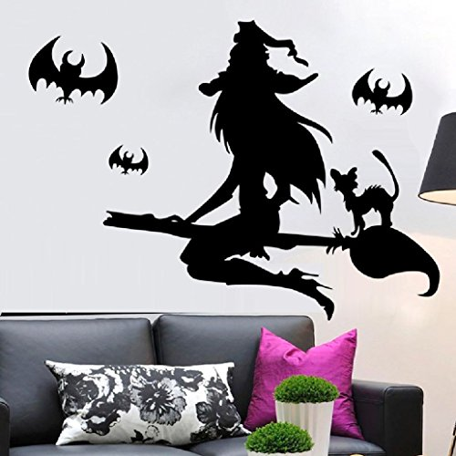 Suyunyuan DIY Halloween day black witch Riding a broom wall stickers living room bedroom children's room backdrop waterproof PVC poster -