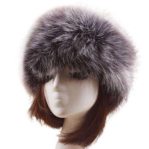 Lookatool Winter Faux Fox Fur Hat Male Cap Men Women Soft Ski Headdress (Deep Gray) -
