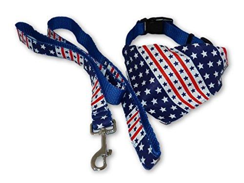 American Flag Dog Collar & Leash Set With Bandana - MEDIUM