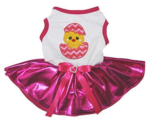 Petitebella Puppy Clothes Dog Dress Easter Chick Egg White Shirt Hot Pink Tutu -