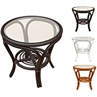 Rattan Round Coffee End Table model Hanna with Glass Top (Small, Dark Brown)