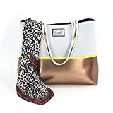 Casewee Neoprene Beach Bag Tote Bags Handbags With Portable Pouch and Bonus Scarf for Women Ladies (Copper Voice)