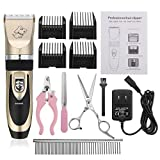 Pet Grooming Clipper Kits ShineMore Low Noise Rechargeable Cordless Quiet Pet Groomer with 4 Comb Attachments and 4 Extra tools for Dogs Cats and Other Family Pets (Black + Gold)