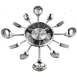 18Inch Large Decorative Wall Clocks Saat Metal Spoon Fork Kitchen Wall Clock Black Cutlery Creative Design
