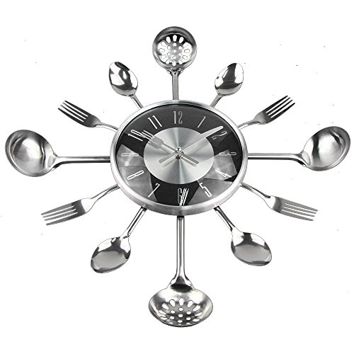18Inch Large Decorative Wall Clocks Saat Metal Spoon Fork Kitchen Wall Clock Black Cutlery Creative Design