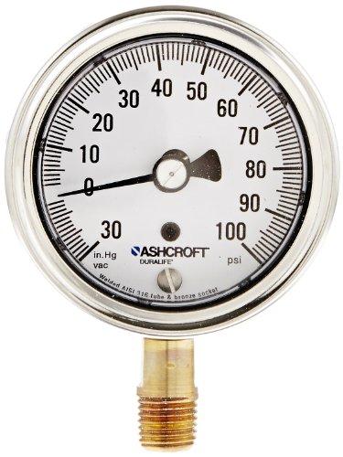 Ashcroft Duralife Type 1009 Stainless Steel Case Dry Filled Pressure Gauge, Stainless Steel Tube and Bronze Socket, Hermetic Seal, 2.5