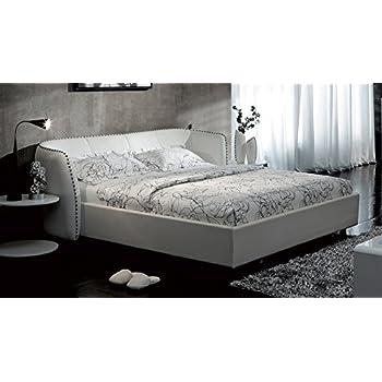 vitali leather platform king bed by zuri furniture white
