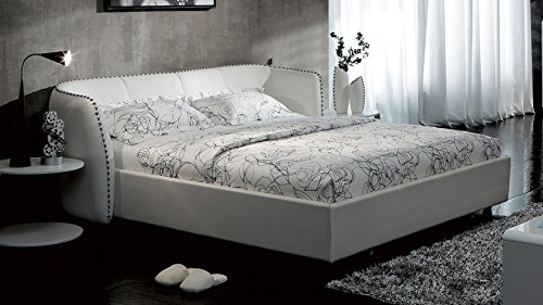 Vitali Leather Platform Cal King Bed by Zuri Furniture- White - Leather Cal King Bed