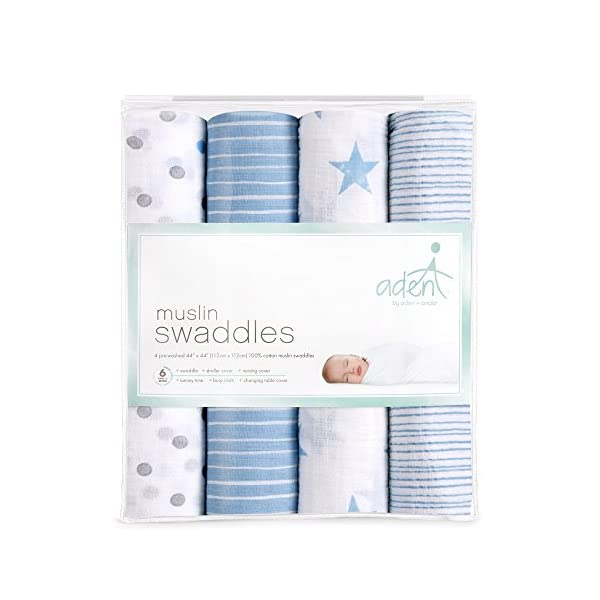 Aden by aden + anais Swaddle Blanket | Muslin Blankets for Girls & Boys | Baby Receiving Swaddles | Ideal Newborn Gifts, Unisex Infant Shower Items, Toddler Gift, Wearable Swaddling Set, Dapper