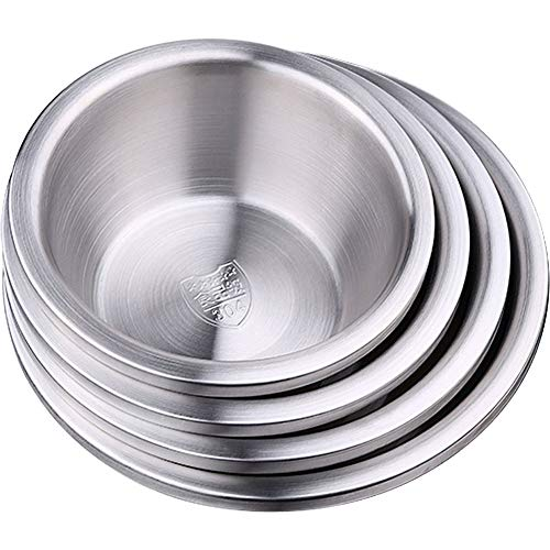 304 Stainless Steel Mixing Bowl Basin Dinnerware Tableware Unbreakable Food Storage Container Bowls for Soup, Popcorn, Fruit, Salad, Noodle, etc (16cm Diameter)