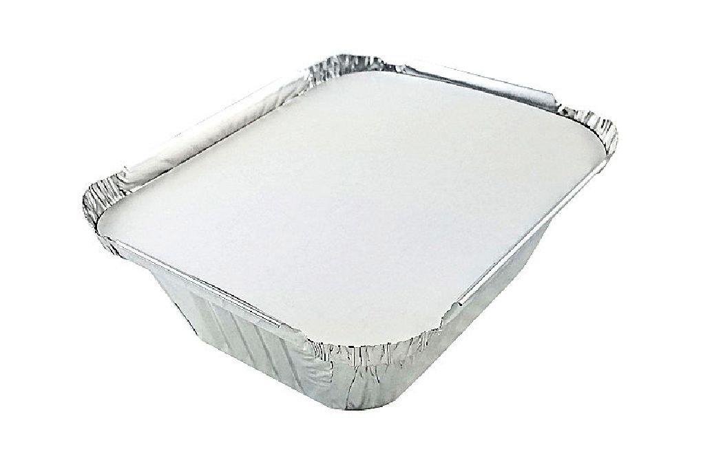 1 lb. Oblong Aluminum Foil TakeOut Pan w/Board Lid Disposable Tins