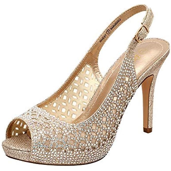 DREAM PAIRS Women's High Heels Platform Dress Rhinestones Peep Toe Pumps Shoes