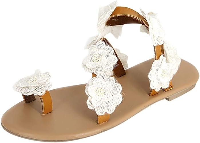 ❤Mode Femmes Toe Fleur Plates Sandales Bas