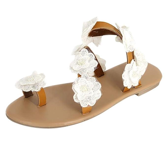 ZARLLE Sandalias Mujeres Moda Verano Plano Talla Grande Bohemia La Mujer Rhinestone Dulce Clip Toe Sandalias Zapatos Sandalias Casuales Zapatos De Playa ...