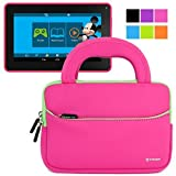 Evecase Smartab STJR76 7-inch Android 4.4 Kids Tablet Sleeve Case, Slim Briefcase w/ Handle & Accessory Pocket / Ultra Portable Travel Carrying Case Sleeve Portfolio Pouch Cover - Hot Pink