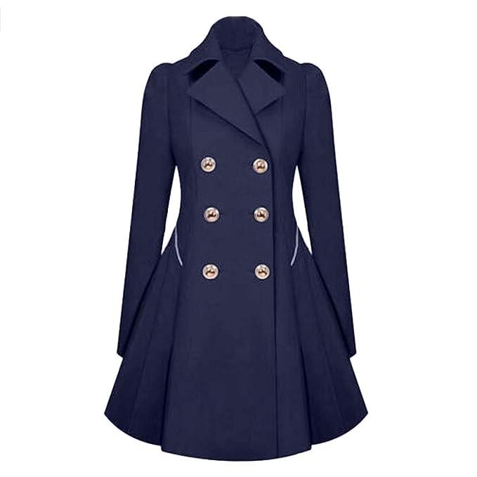 CICIYONER Vintage Chaqueta de Abrigo Invierno cálido para Mujer, Elegante Chaqueta de Abrigo Largo de