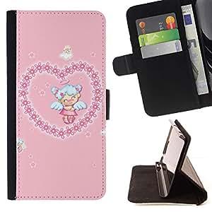 Momo Phone Case / Flip Funda de Cuero Case Cover - ?ngel lindo del amor del corazón - Samsung Galaxy J3 GSM-J300