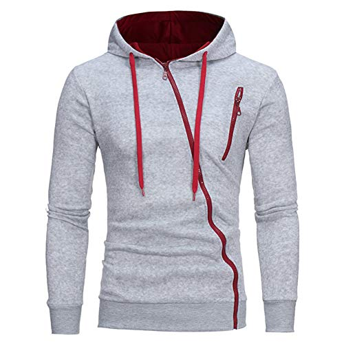 XINFEI Spring Men's Hoodies Solid Color Sportswear 3D Oblique Full Zip Sweatshirt Slim Tracksuit Grey