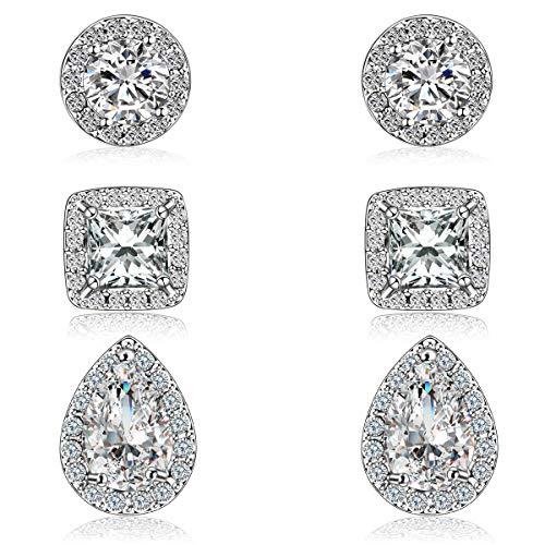 Diamond Teardrop Post Earrings - Quinlivan Trio 3 Pairs Premium Halo Stud Earrings Lightweight Round Square Teardrop Cubic Zirconia Earrings for Women, Girls (rhodium)