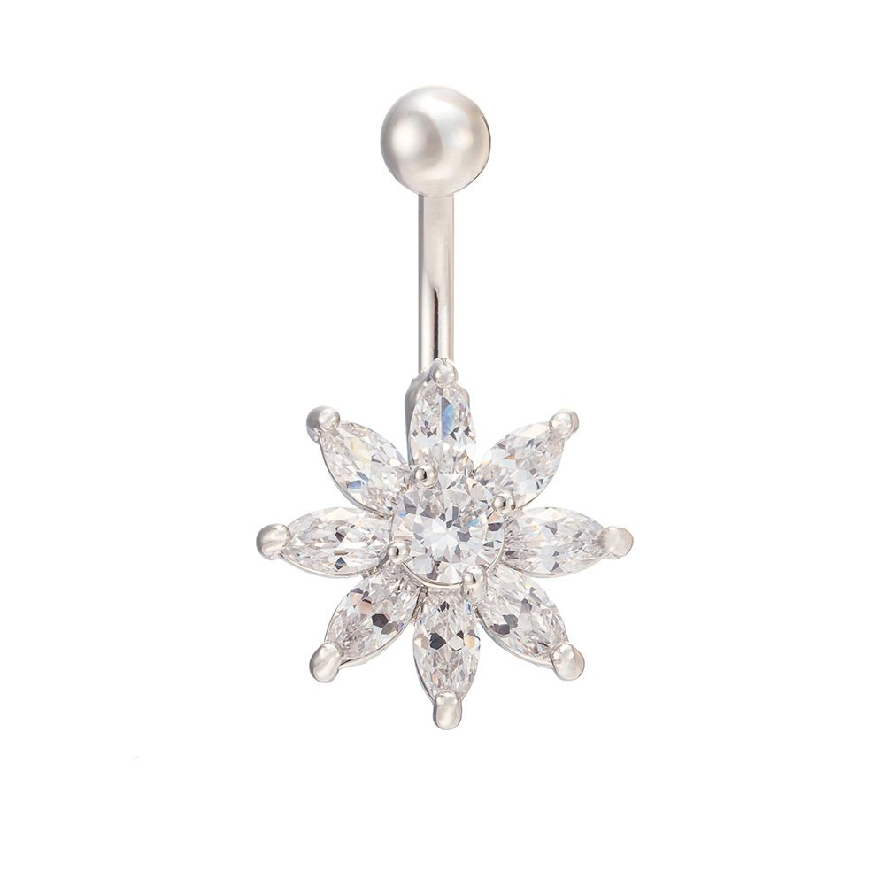 Fashion Women Body Piercing Jewelry 14G Hypoallergenic Stainless Steel Cubic Zirconia Belly Button Ring Navel Rings Flower With Diamond White