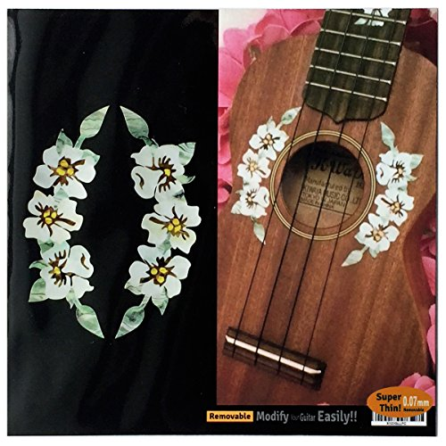 - Ukulele - Hibiscus Flowers Rosette Purfling Inlay Stickers Decals
