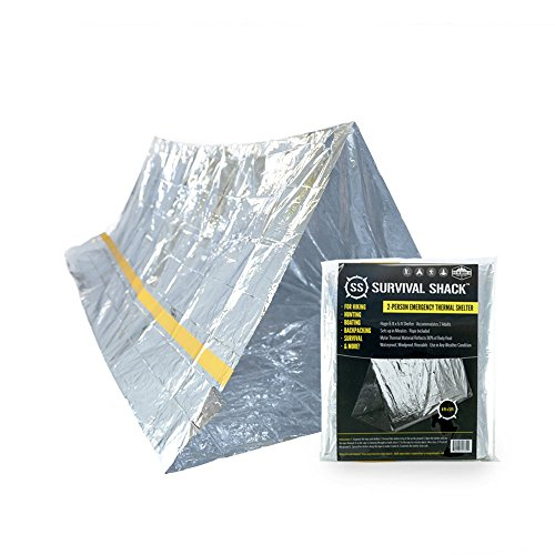 Survival Shack Emergency Survival Shelter Tent | 2 Person Mylar Thermal Shelter | 8′ X 5′ All Weather Tube Tent | Reflective Material Conserves Heat | Lightweight | Waterproof | Best Survival Gear