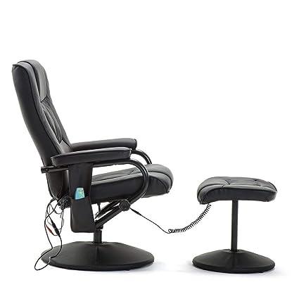 Sillón de masaje eléctrico con taburete, sillón de relax ...