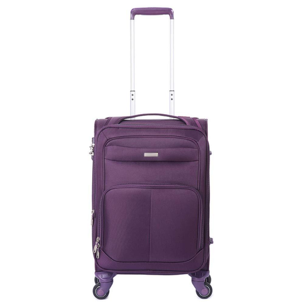 GLJJQMY トロリースーツケース5ラウンドビジネスエリート防爆ジッパーTSA税関ロックトラベルトロリーケース トロリーケース (Color : Purple, Size : 20 inches) B07VC3D1RT Purple 20 inches